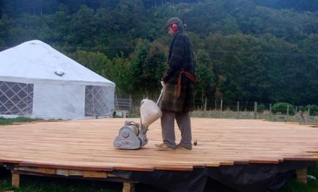 Yurt floor sanding