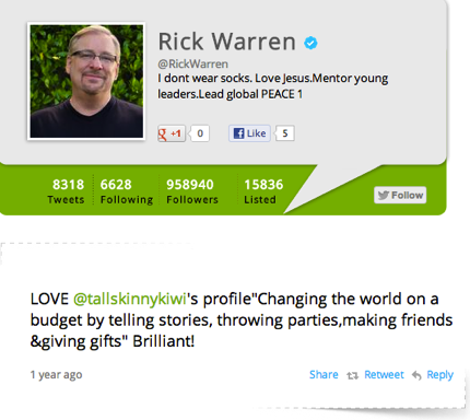 Rick warren and tallskinnykiwi